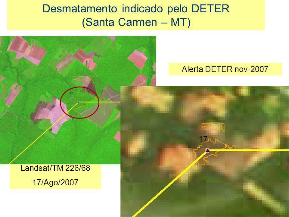 Landsat/TM 226/68 17/Ago/2007 Desmatamento indicado pelo DETER (Santa Carmen – MT) Alerta DETER nov-2007