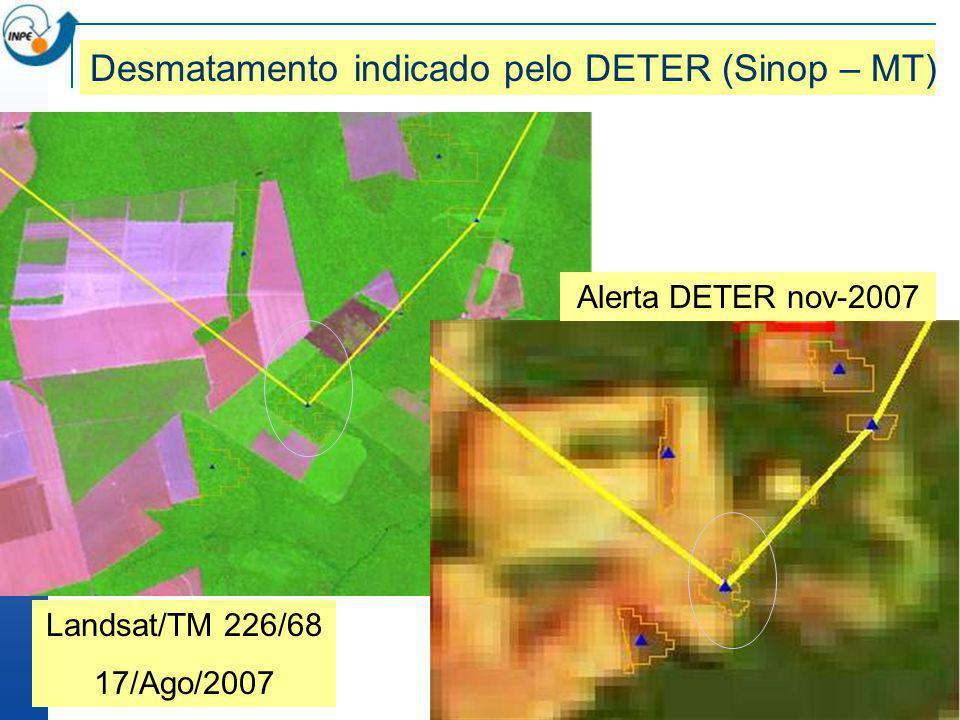 Landsat/TM 226/68 17/Ago/2007 Desmatamento indicado pelo DETER (Sinop – MT) Alerta DETER nov-2007