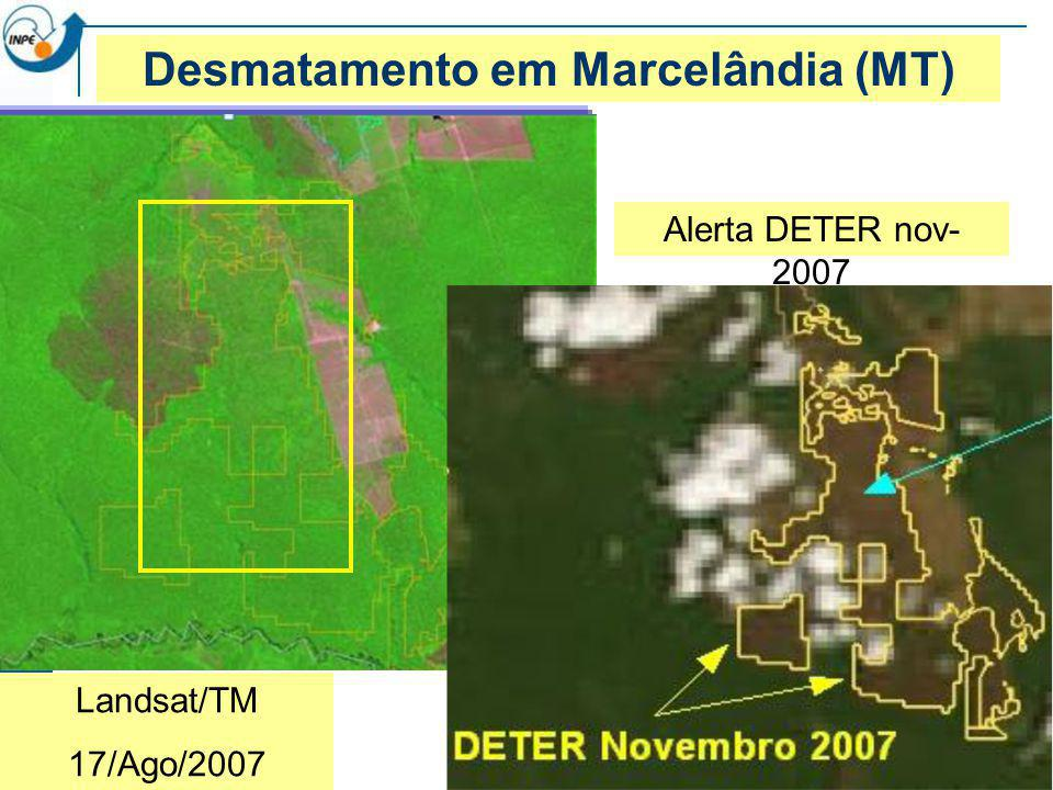 Landsat/TM 17/Ago/2007 Desmatamento em Marcelândia (MT) Alerta DETER nov- 2007