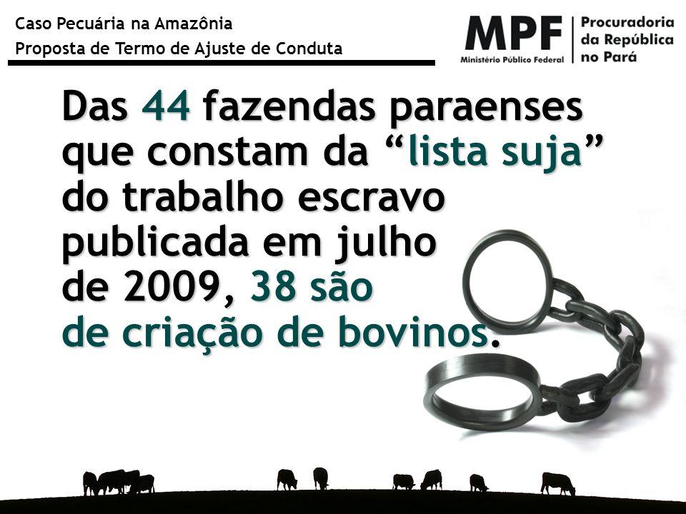 """Caso Pecuária na Amazônia Proposta de Termo de Ajuste de Conduta Das 44 fazendas paraenses que constam da """"lista suja"""" do trabalho escravo publicada e"""