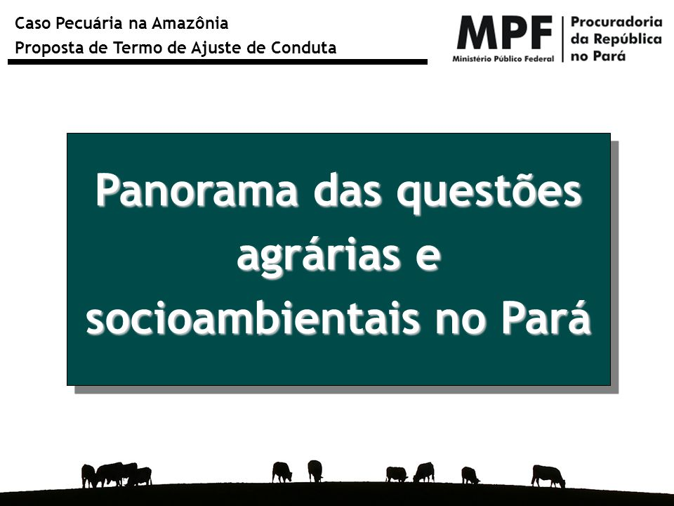 Caso Pecuária na Amazônia Proposta de Termo de Ajuste de Conduta Das 44 fazendas paraenses que constam da lista suja do trabalho escravo publicada em julho de 2009, 38 são de criação de bovinos.