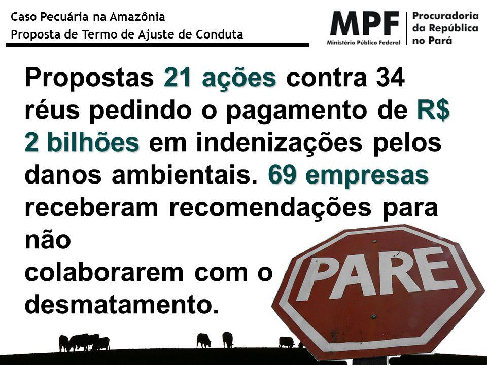 Caso Pecuária na Amazônia Proposta de Termo de Ajuste de Conduta 21 ações R$ 2 bilhões 69 empresas Propostas 21 ações contra 34 réus pedindo o pagamen