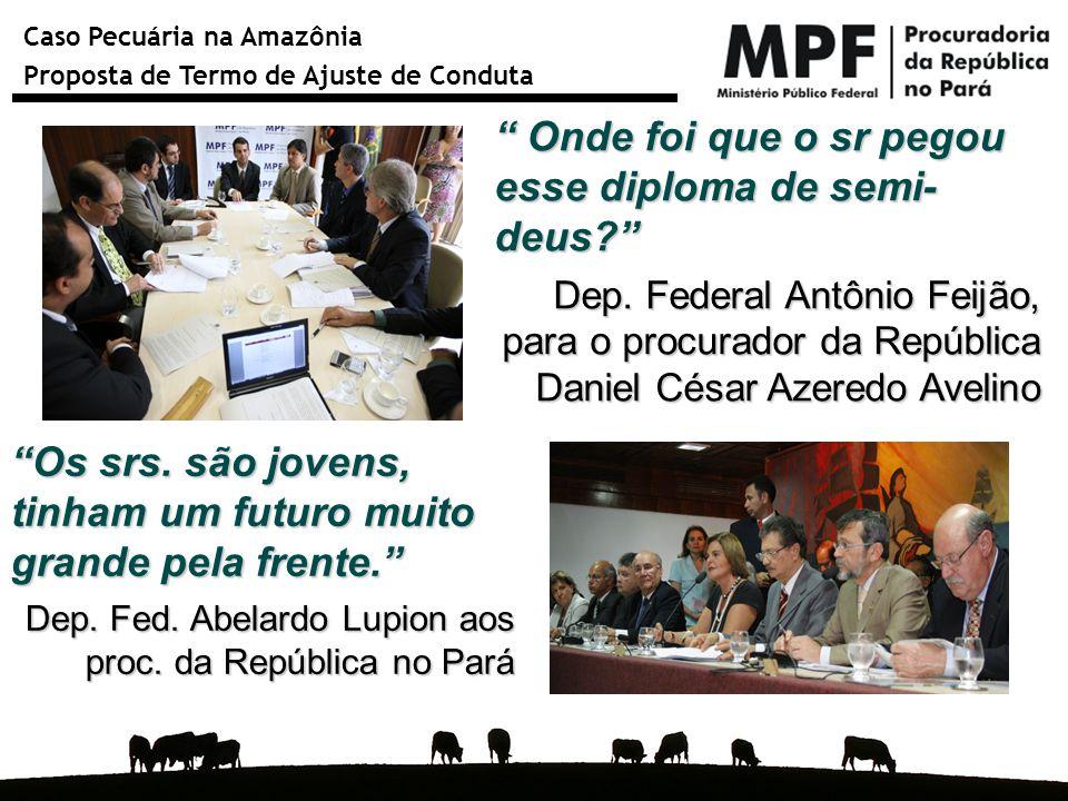 """Caso Pecuária na Amazônia Proposta de Termo de Ajuste de Conduta """"Os srs. são jovens, tinham um futuro muito grande pela frente."""" Dep. Fed. Abelardo L"""