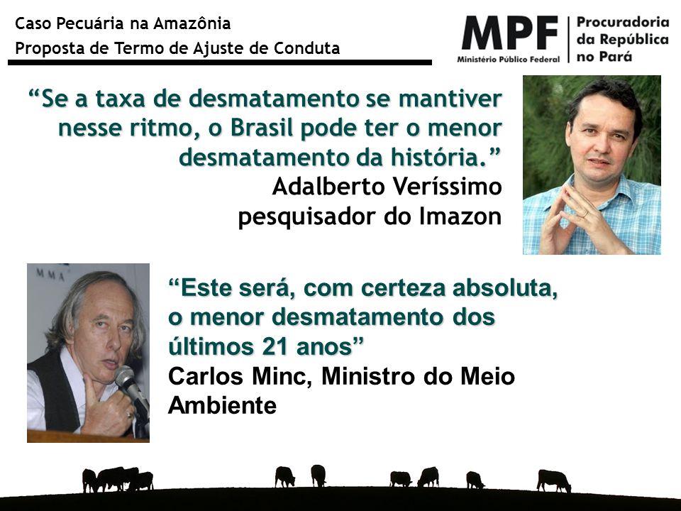 """Caso Pecuária na Amazônia Proposta de Termo de Ajuste de Conduta """"Se a taxa de desmatamento se mantiver nesse ritmo, o Brasil pode ter o menor desmata"""