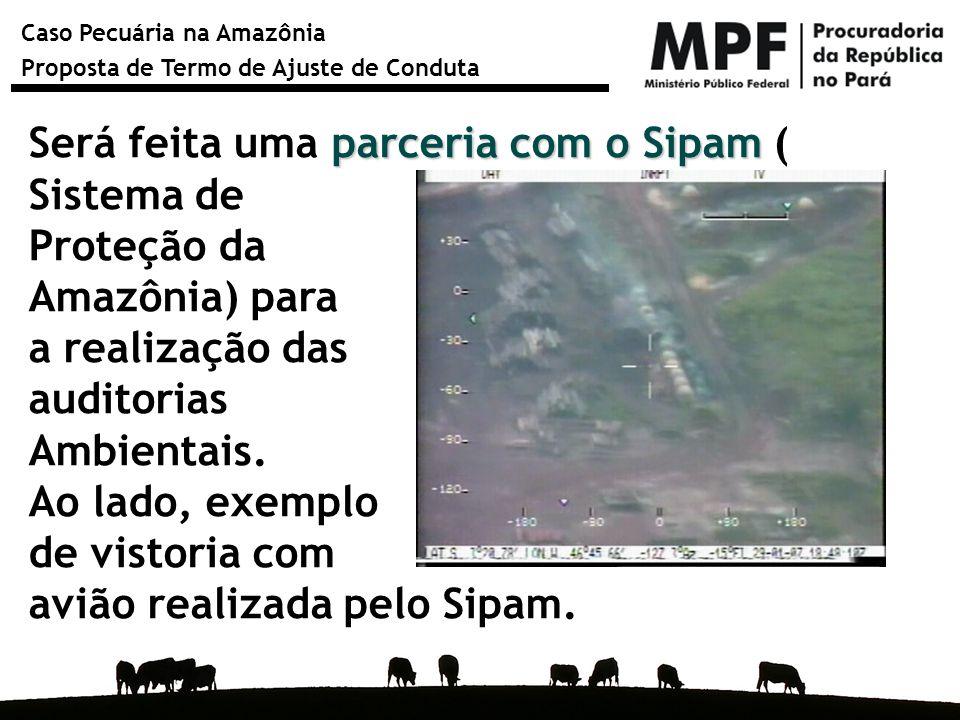 Caso Pecuária na Amazônia Proposta de Termo de Ajuste de Conduta parceria com o Sipam Será feita uma parceria com o Sipam ( Sistema de Proteção da Ama