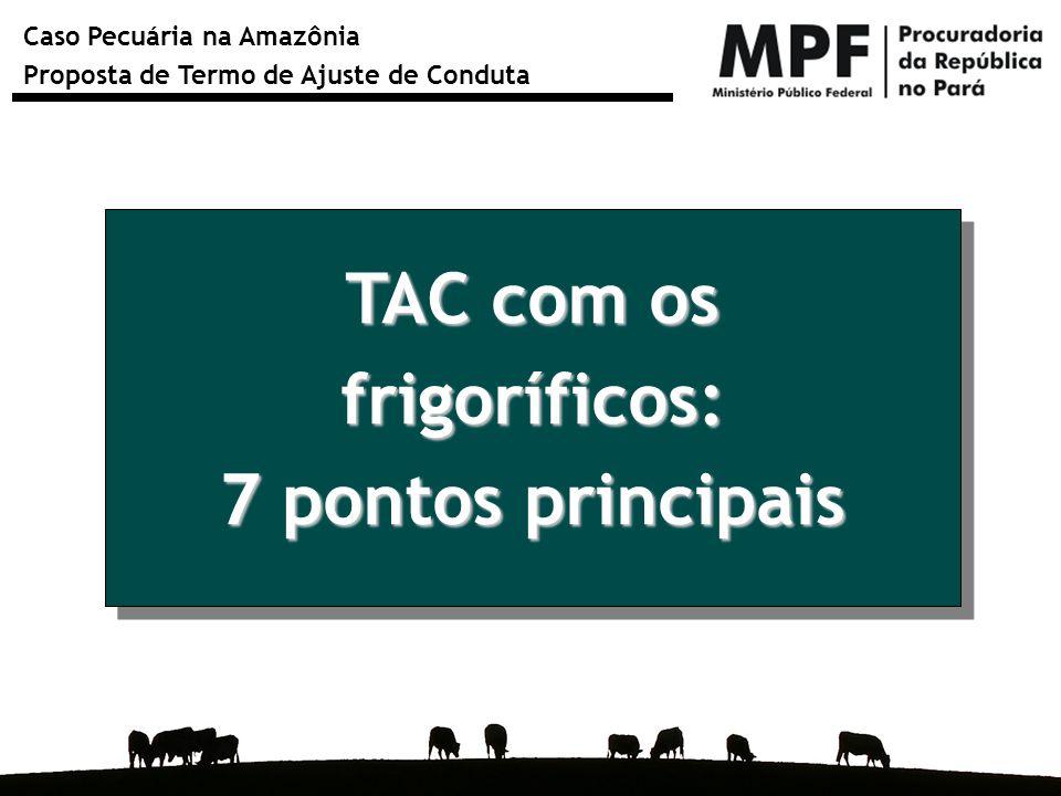 Caso Pecuária na Amazônia Proposta de Termo de Ajuste de Conduta TAC com os frigoríficos: 7 pontos principais