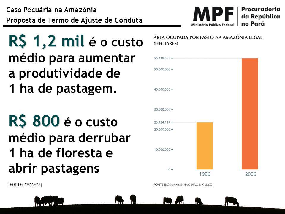 Caso Pecuária na Amazônia Proposta de Termo de Ajuste de Conduta R$ 1,2 mil R$ 1,2 mil é o custo médio para aumentar a produtividade de 1 ha de pastag
