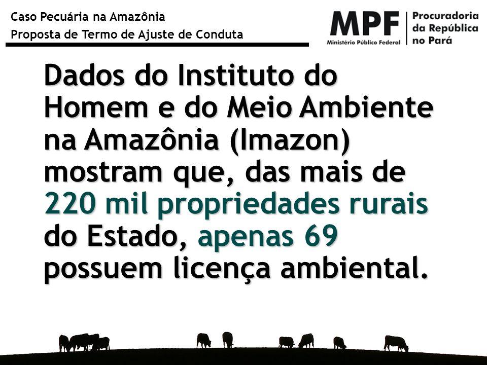 Caso Pecuária na Amazônia Proposta de Termo de Ajuste de Conduta Município Cabeças de gado em 2007 Licenças Ambientais Rurais Cadastro Ambiental Rural São Félix do Xingu 1.653.231 1 23 Santa Maria das Barreiras 559.603 - 17 Santana do Araguaia 475.412 - 4 Cumaru do Norte 447.412 - 2 Marabá 430.300 2 8 Total 3.565.958354 % do Estado23,00%0,78%4,66% Rebanho bovino e nº de licenças ambientais rurais e de cadastro de imóveis rurais na Sema em 30 de junho de 2009 nos 5 municípios com maiores rebanhos do Pará em 2007