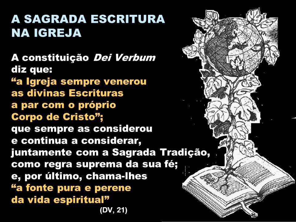 """A SAGRADA ESCRITURA NA IGREJA A constituição Dei Verbum diz que: """"a Igreja sempre venerou as divinas Escrituras a par com o próprio Corpo de Cristo"""";"""