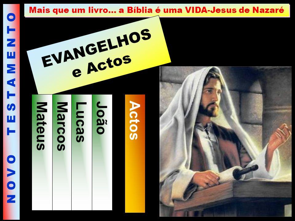 Mais que um livro… a Bíblia é uma VIDA-Jesus de Nazaré EVANGELHOS e Actos Mateus Marcos Lucas João Actos N O V O T E S T A M E N T O