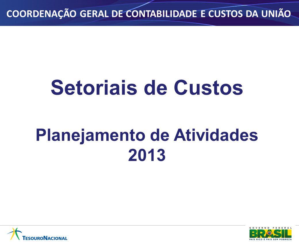Setoriais de Custos Planejamento de Atividades 2013 COORDENAÇÃO GERAL DE CONTABILIDADE E CUSTOS DA UNIÃO