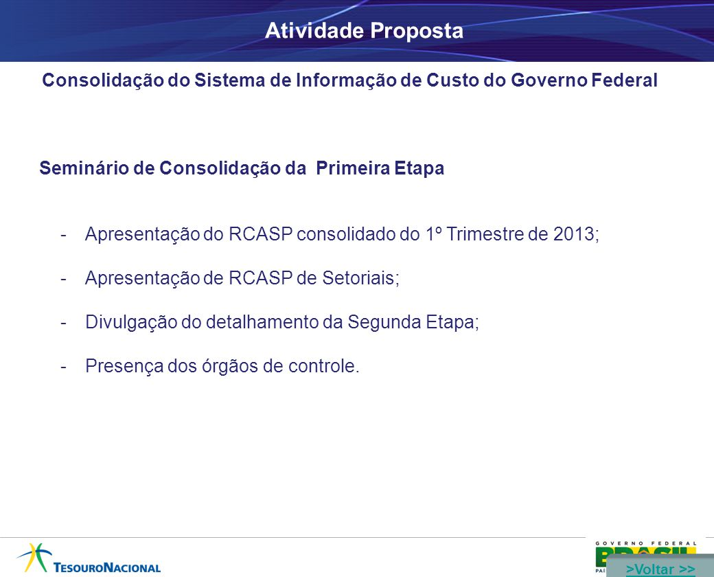 Atividade Proposta Consolidação do Sistema de Informação de Custo do Governo Federal Seminário de Consolidação da Primeira Etapa -Apresentação do RCAS
