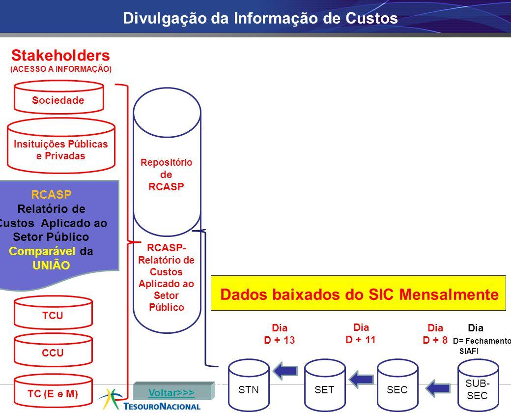 RCASP- Relatório de Custos Aplicado ao Setor Público TCE ESTSEC STNSETSEC SUB- SEC Dia D + 8 Dia D + 11 Dia D + 13 TCE MUNSEC SUB- SEC Dados baixados do SIC Mensalmente RCASP Relatório de Custos Aplicado ao Setor Público Comparável da UNIÃO União Divulgação da Informação de Custos SUB- SEC Repositório de RCASP Voltar>>> TCU CCU Sociedade Insituições Públicas e Privadas TC (E e M) Dia D + 8 Dia D + 11 Dia D + 13 Dia D= Fechamento SIAFI Stakeholders (ACESSO A INFORMAÇÃO)
