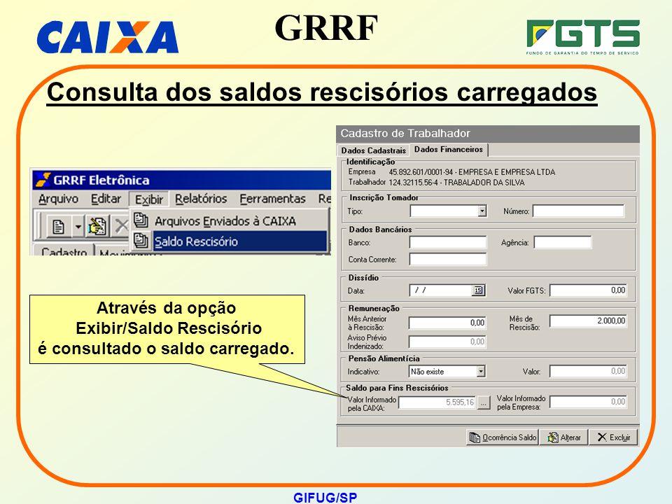 GRRF GIFUG/SP Consulta dos saldos rescisórios carregados Através da opção Exibir/Saldo Rescisório é consultado o saldo carregado.