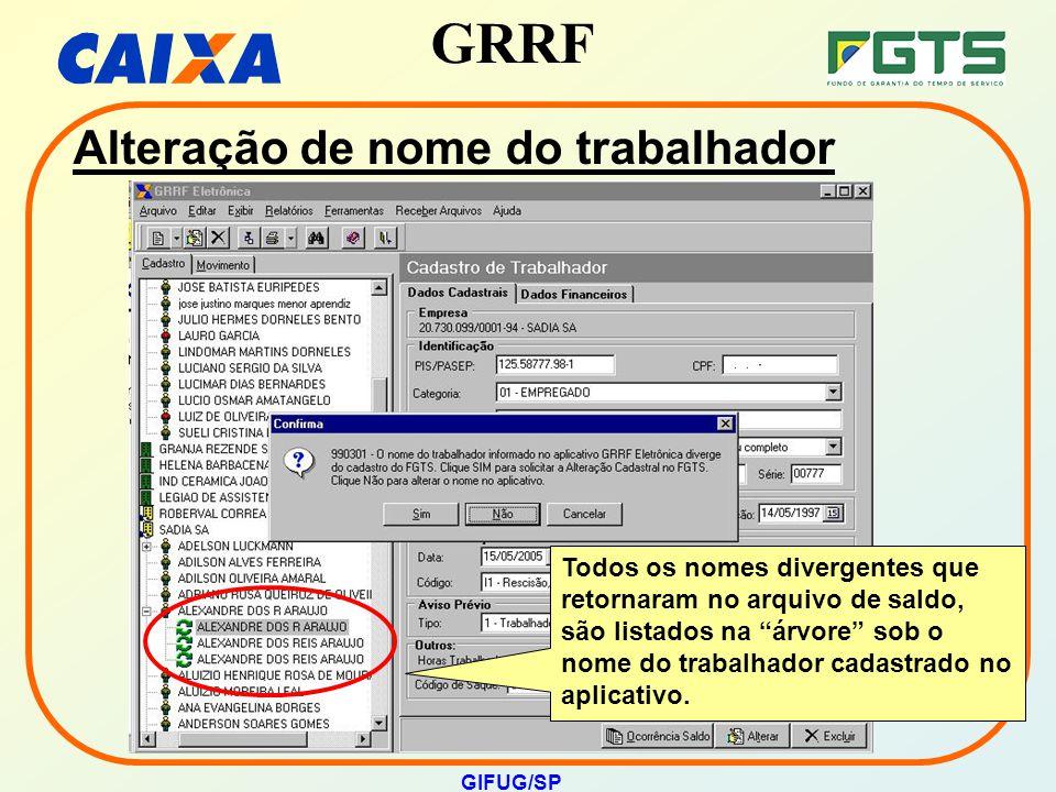 """GRRF GIFUG/SP Todos os nomes divergentes que retornaram no arquivo de saldo, são listados na """"árvore"""" sob o nome do trabalhador cadastrado no aplicati"""
