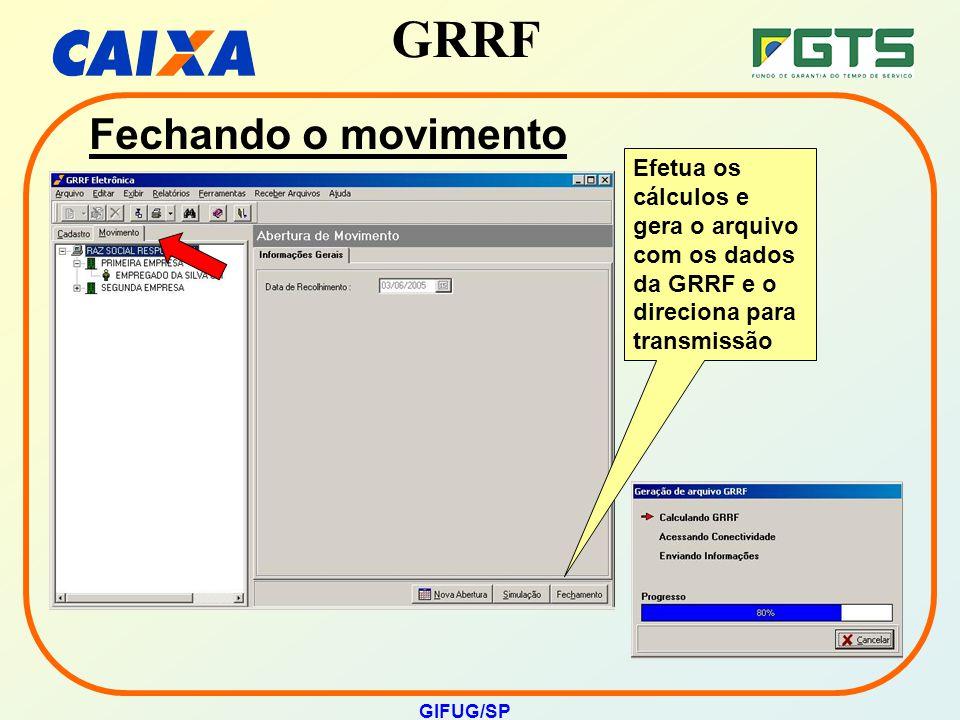 GRRF GIFUG/SP Efetua os cálculos e gera o arquivo com os dados da GRRF e o direciona para transmissão Fechando o movimento