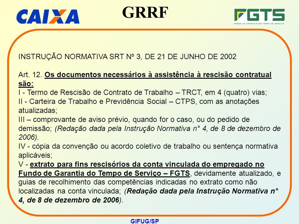 GRRF GIFUG/SP INSTRUÇÃO NORMATIVA SRT Nº 3, DE 21 DE JUNHO DE 2002 Art. 12. Os documentos necessários à assistência à rescisão contratual são: I - Ter