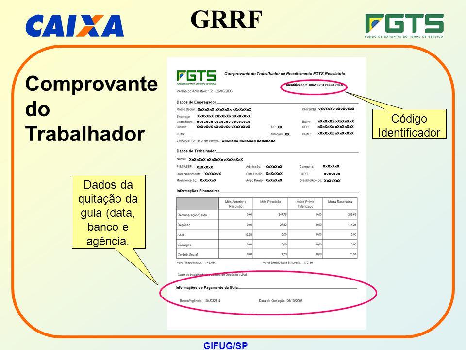 GRRF GIFUG/SP Dados da quitação da guia (data, banco e agência. Código Identificador Comprovante do Trabalhador
