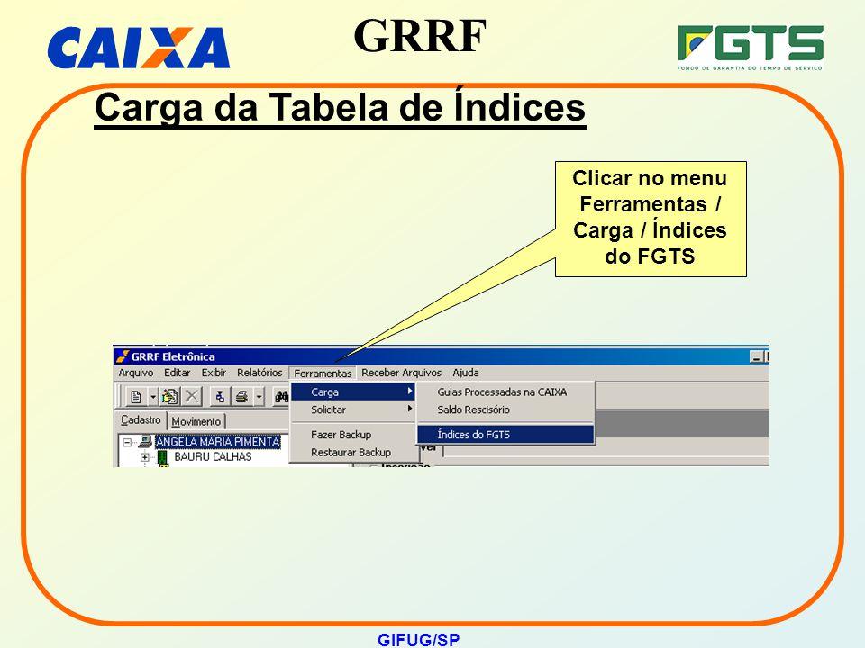 GRRF GIFUG/SP Carga da Tabela de Índices Clicar no menu Ferramentas / Carga / Índices do FGTS