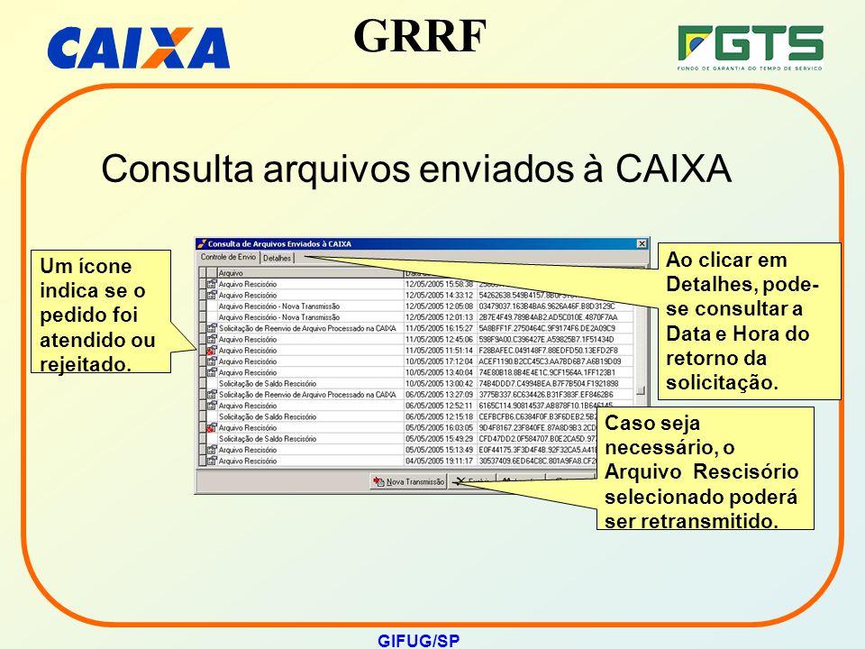 GRRF GIFUG/SP Ao clicar em Detalhes, pode- se consultar a Data e Hora do retorno da solicitação. Um ícone indica se o pedido foi atendido ou rejeitado