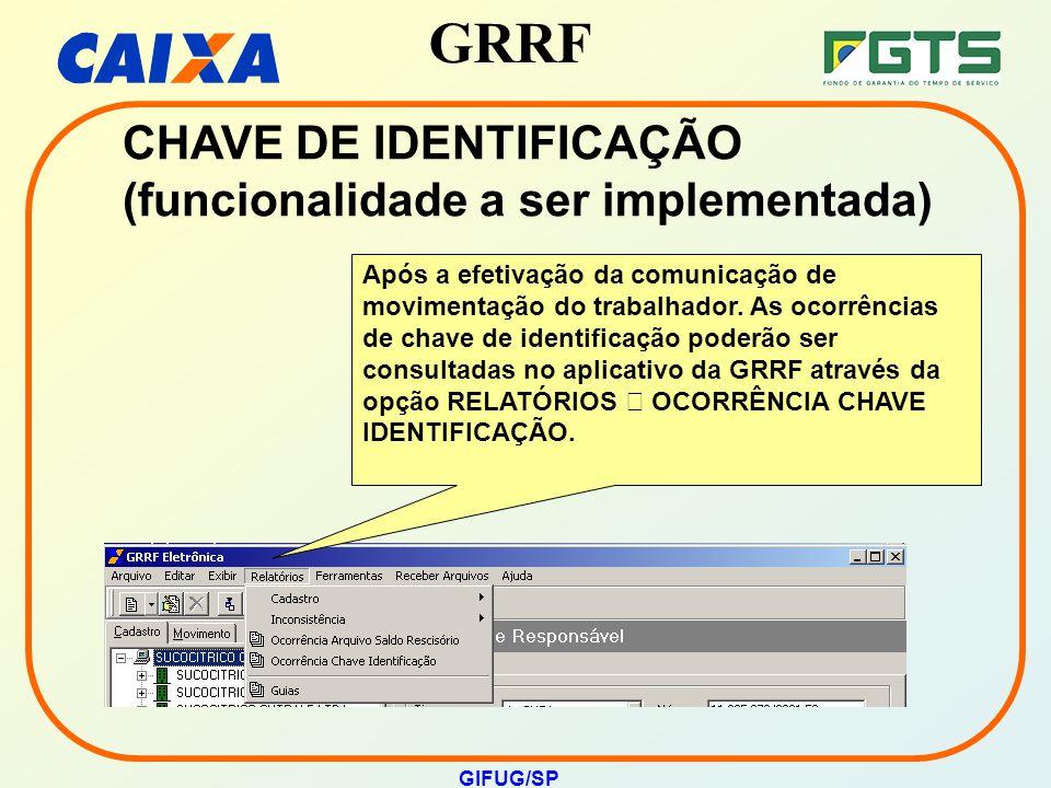 GRRF GIFUG/SP CHAVE DE IDENTIFICAÇÃO (funcionalidade a ser implementada) Após a efetivação da comunicação de movimentação do trabalhador. As ocorrênci