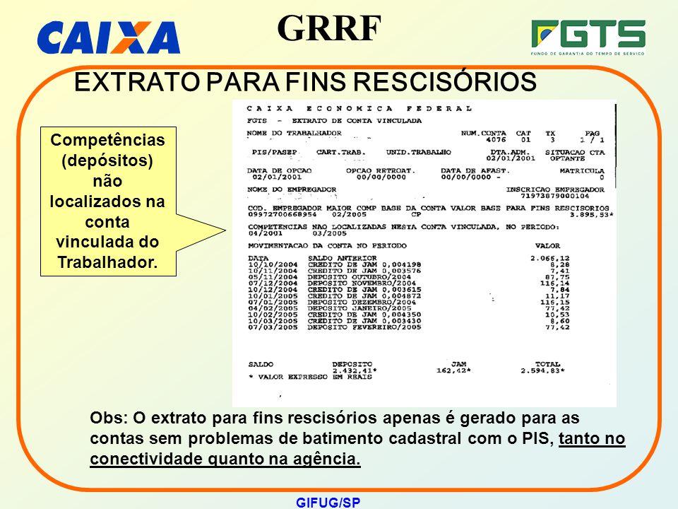 GRRF GIFUG/SP EXTRATO PARA FINS RESCISÓRIOS Competências (depósitos) não localizados na conta vinculada do Trabalhador. Obs: O extrato para fins resci