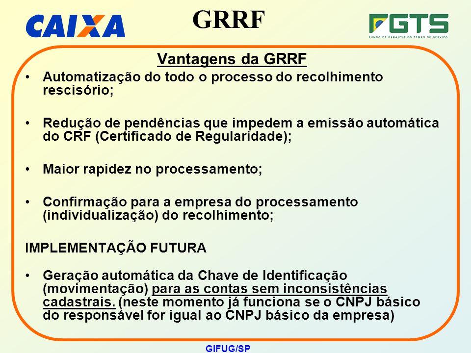 GRRF GIFUG/SP Vantagens da GRRF Automatização do todo o processo do recolhimento rescisório; Redução de pendências que impedem a emissão automática do