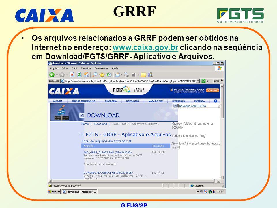 GRRF GIFUG/SP Os arquivos relacionados a GRRF podem ser obtidos na Internet no endereço: www.caixa.gov.br clicando na seqüência em Download/FGTS/GRRF-