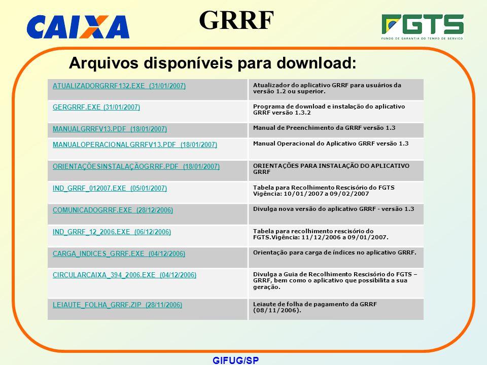 GRRF GIFUG/SP Arquivos disponíveis para download: ATUALIZADORGRRF132.EXE (31/01/2007) Atualizador do aplicativo GRRF para usuários da versão 1.2 ou su
