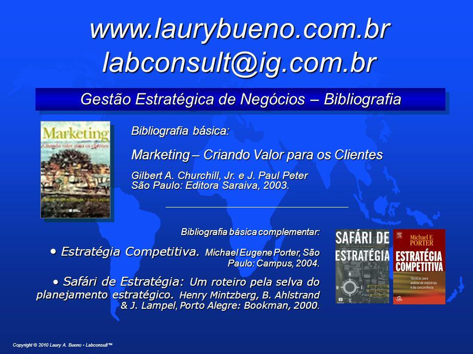 Gestão Estratégica de Negócios – Bibliografia Copyright © 2010 Laury A. Bueno Labconsult™ Bibliografia básica: Marketing – Criando Valor para os Clien