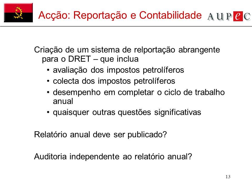 13 Acção: Reportação e Contabilidade Criação de um sistema de relportação abrangente para o DRET – que inclua avaliação dos impostos petrolíferos cole
