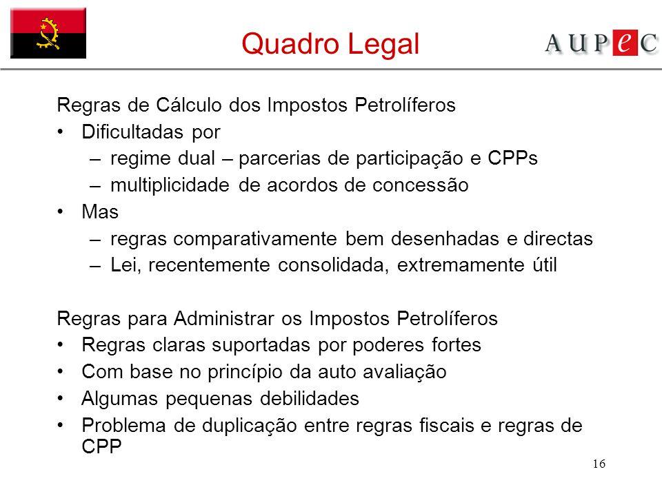 16 Quadro Legal Regras de Cálculo dos Impostos Petrolíferos Dificultadas por –regime dual – parcerias de participação e CPPs –multiplicidade de acordo