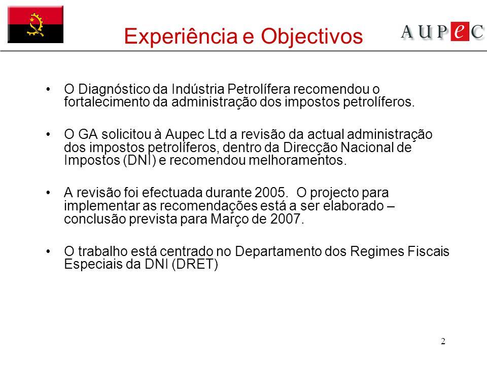 2 Experiência e Objectivos O Diagnóstico da Indústria Petrolífera recomendou o fortalecimento da administração dos impostos petrolíferos. O GA solicit