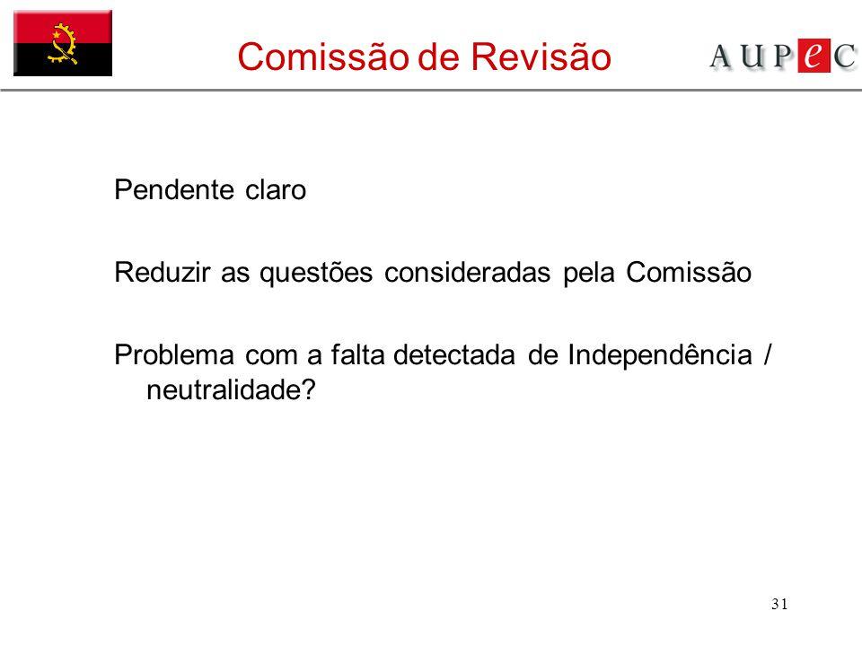 31 Comissão de Revisão Pendente claro Reduzir as questões consideradas pela Comissão Problema com a falta detectada de Independência / neutralidade?