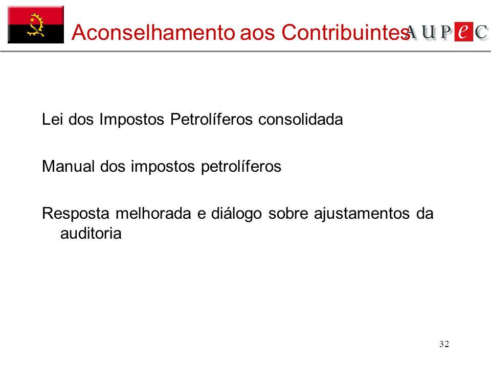 32 Aconselhamento aos Contribuintes Lei dos Impostos Petrolíferos consolidada Manual dos impostos petrolíferos Resposta melhorada e diálogo sobre ajus