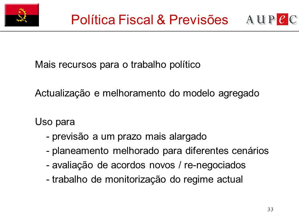 33 Política Fiscal & Previsões Mais recursos para o trabalho político Actualização e melhoramento do modelo agregado Uso para - previsão a um prazo ma