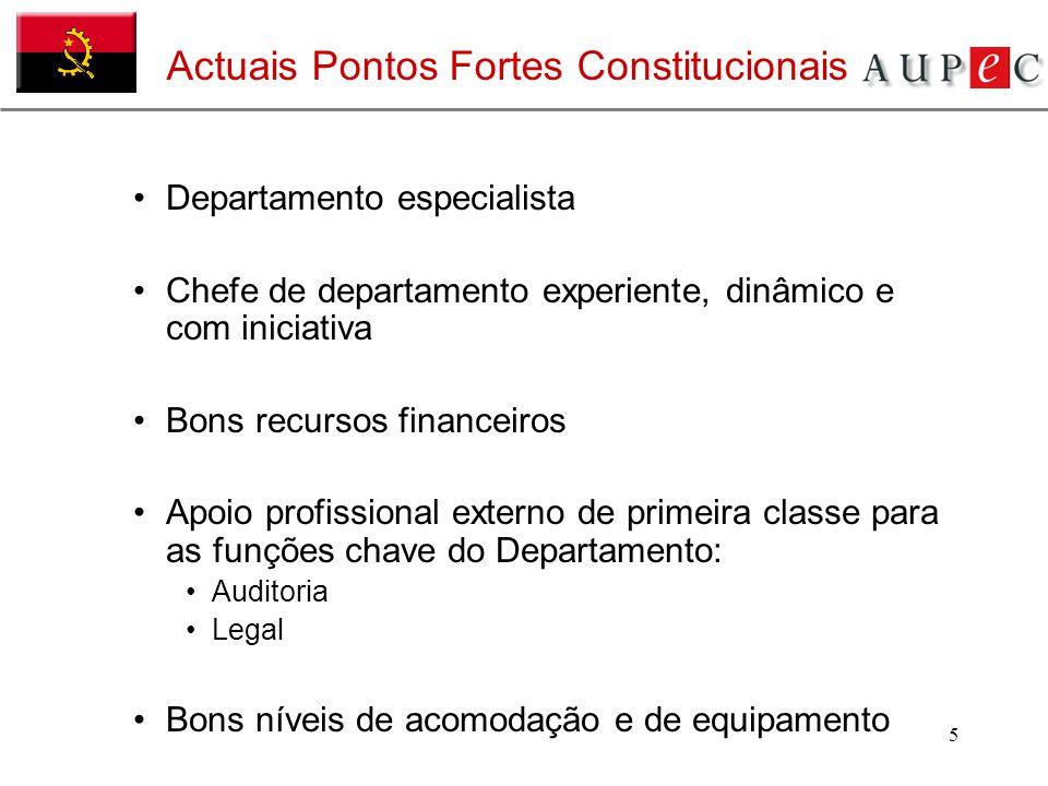5 Actuais Pontos Fortes Constitucionais Departamento especialista Chefe de departamento experiente, dinâmico e com iniciativa Bons recursos financeiro
