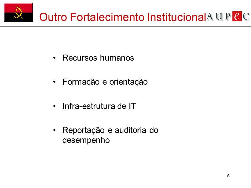 6 Outro Fortalecimento Institucional Recursos humanos Formação e orientação Infra-estrutura de IT Reportação e auditoria do desempenho