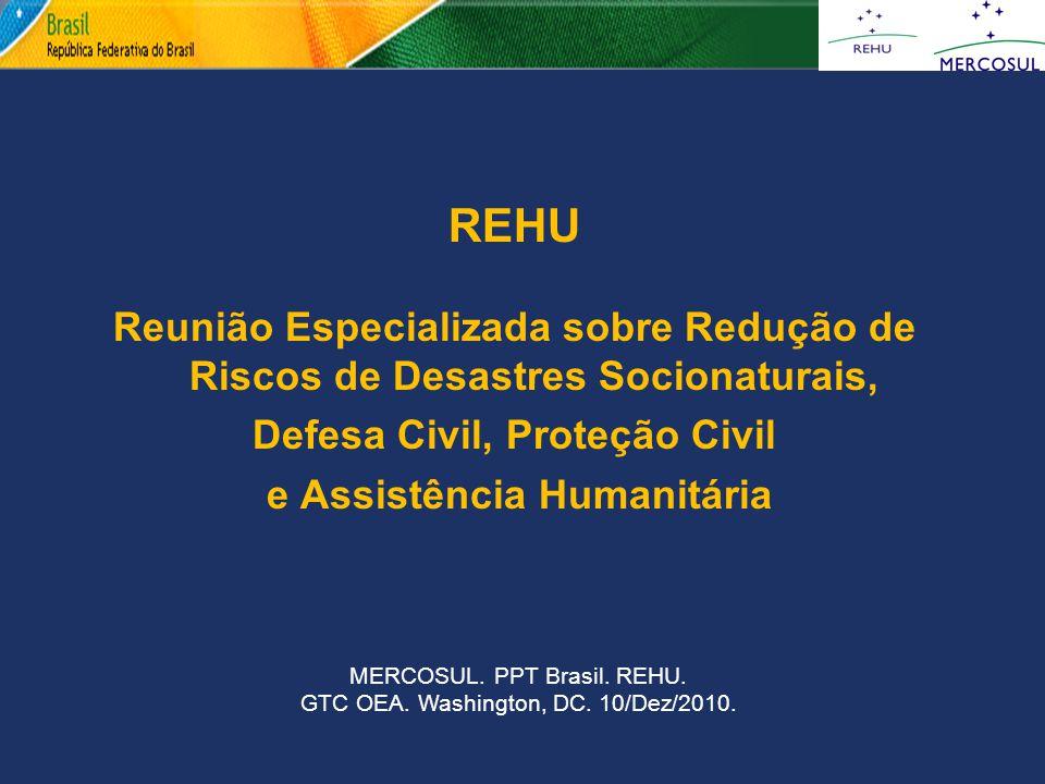 REHU Reunião Especializada sobre Redução de Riscos de Desastres Socionaturais, Defesa Civil, Proteção Civil e Assistência Humanitária MERCOSUL. PPT Br