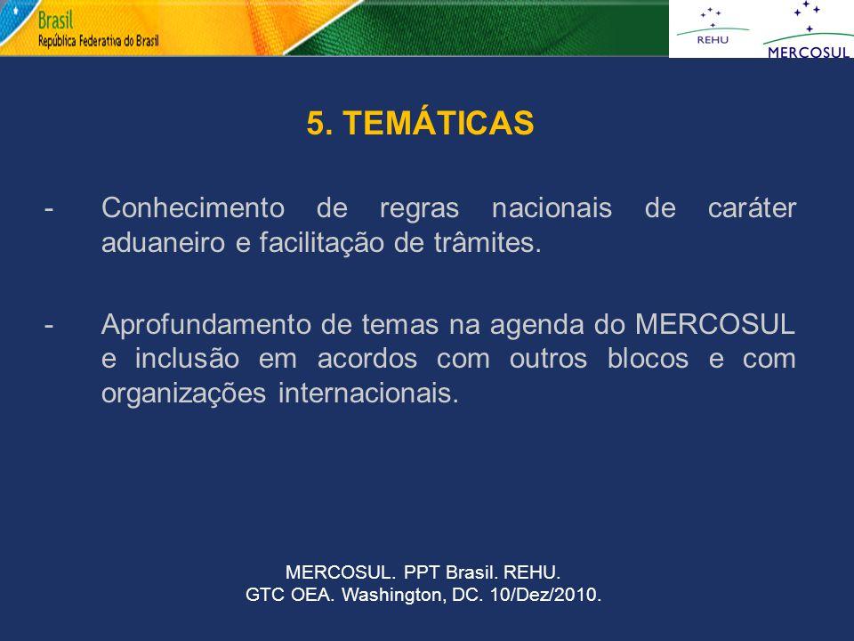 5. TEMÁTICAS -Conhecimento de regras nacionais de caráter aduaneiro e facilitação de trâmites. -Aprofundamento de temas na agenda do MERCOSUL e inclus