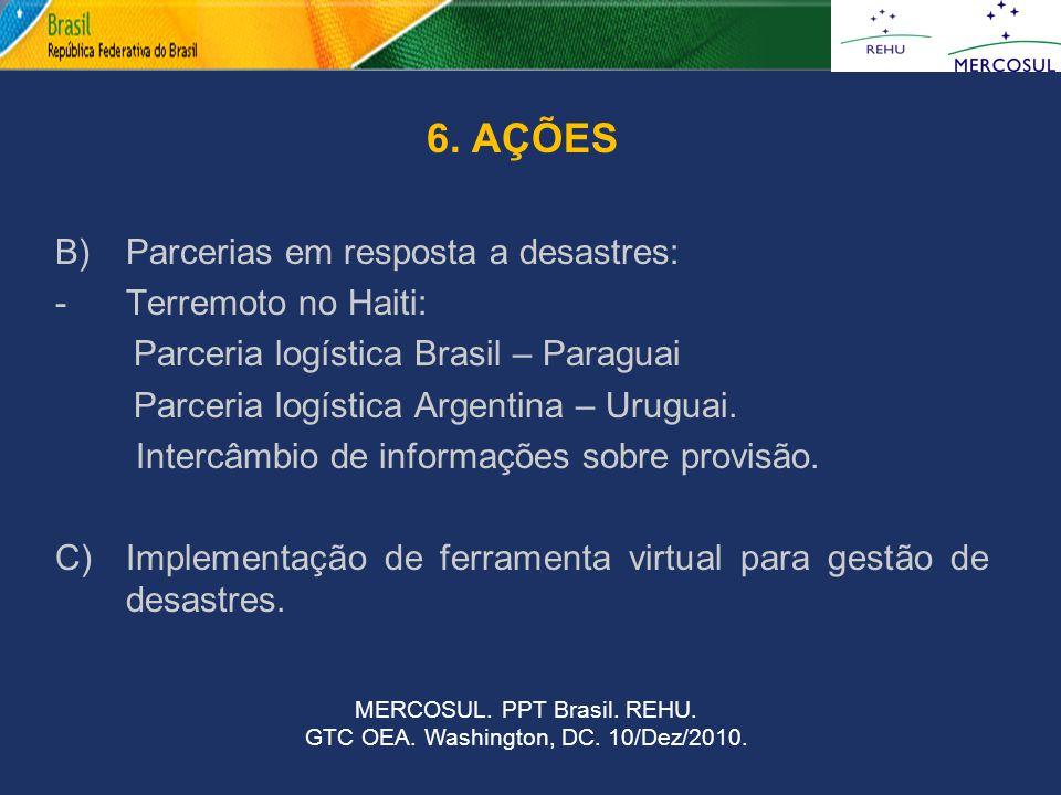 6. AÇÕES B) Parcerias em resposta a desastres: -Terremoto no Haiti: Parceria logística Brasil – Paraguai Parceria logística Argentina – Uruguai. Inter