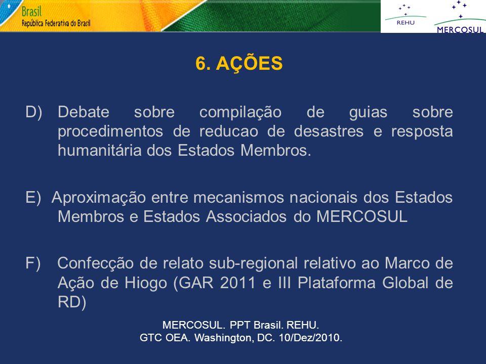 6. AÇÕES D)Debate sobre compilação de guias sobre procedimentos de reducao de desastres e resposta humanitária dos Estados Membros. E) Aproximação ent