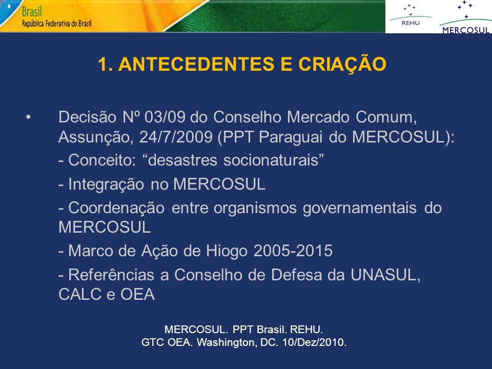 """1. ANTECEDENTES E CRIAÇÃO Decisão Nº 03/09 do Conselho Mercado Comum, Assunção, 24/7/2009 (PPT Paraguai do MERCOSUL): - Conceito: """"desastres socionatu"""