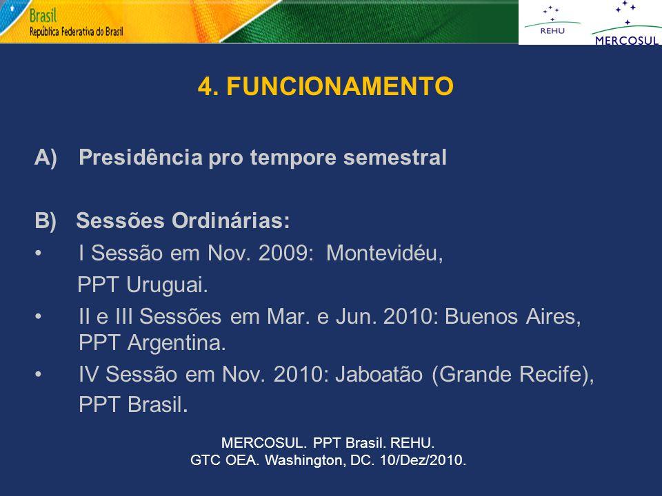 4. FUNCIONAMENTO A) Presidência pro tempore semestral B) Sessões Ordinárias: I Sessão em Nov. 2009: Montevidéu, PPT Uruguai. II e III Sessões em Mar.