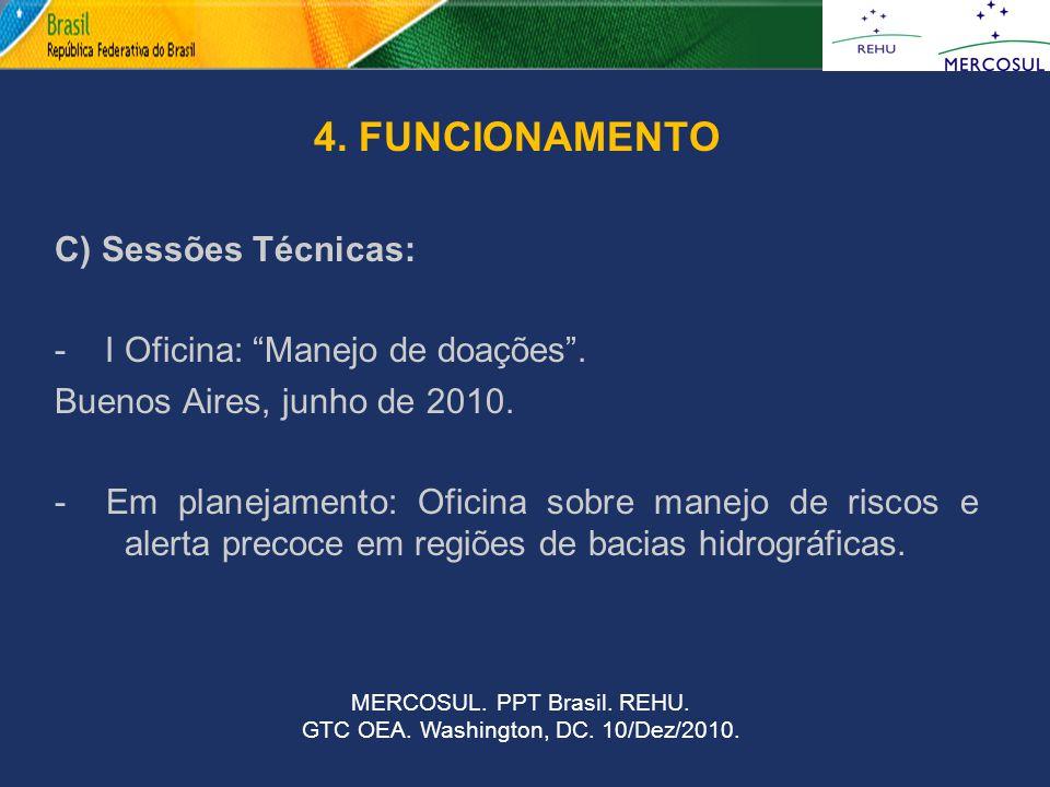 """4. FUNCIONAMENTO C) Sessões Técnicas: - I Oficina: """"Manejo de doações"""". Buenos Aires, junho de 2010. - Em planejamento: Oficina sobre manejo de riscos"""