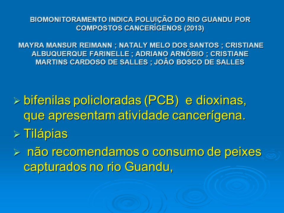 BIOMONITORAMENTO INDICA POLUIÇÃO DO RIO GUANDU POR COMPOSTOS CANCERÍGENOS (2013) MAYRA MANSUR REIMANN ; NATALY MELO DOS SANTOS ; CRISTIANE ALBUQUERQUE FARINELLE ; ADRIANO ARNÓBIO ; CRISTIANE MARTINS CARDOSO DE SALLES ; JOÂO BOSCO DE SALLES  bifenilas policloradas (PCB) e dioxinas, que apresentam atividade cancerígena.