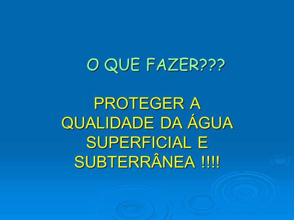 O QUE FAZER PROTEGER A QUALIDADE DA ÁGUA SUPERFICIAL E SUBTERRÂNEA !!!!