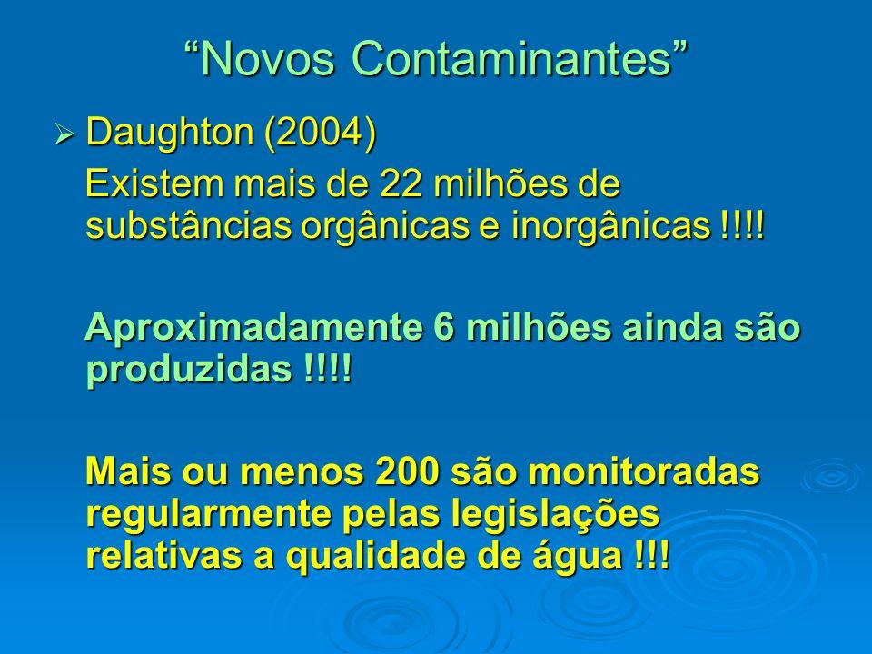 Novos Contaminantes  Daughton (2004) Existem mais de 22 milhões de substâncias orgânicas e inorgânicas !!!.