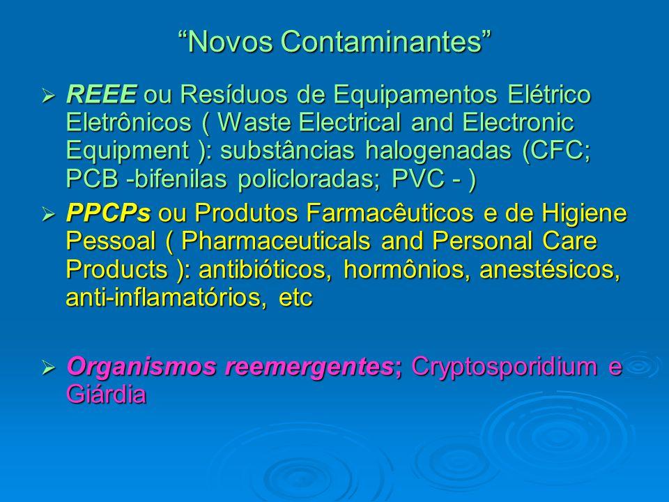 Novos Contaminantes  REEE ou Resíduos de Equipamentos Elétrico Eletrônicos ( Waste Electrical and Electronic Equipment ): substâncias halogenadas (CFC; PCB -bifenilas policloradas; PVC - )  PPCPs ou Produtos Farmacêuticos e de Higiene Pessoal ( Pharmaceuticals and Personal Care Products ): antibióticos, hormônios, anestésicos, anti-inflamatórios, etc  Organismos reemergentes; Cryptosporidium e Giárdia