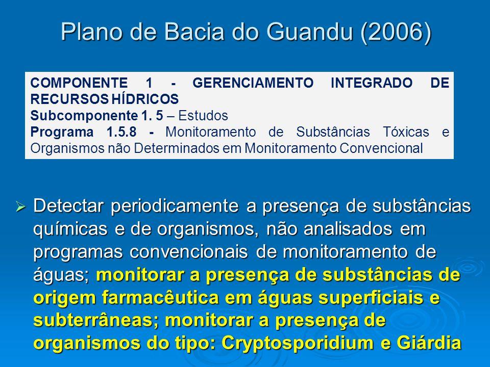 Plano de Bacia do Guandu (2006)  Detectar periodicamente a presença de substâncias químicas e de organismos, não analisados em programas convencionais de monitoramento de águas; monitorar a presença de substâncias de origem farmacêutica em águas superficiais e subterrâneas; monitorar a presença de organismos do tipo: Cryptosporidium e Giárdia COMPONENTE 1 - GERENCIAMENTO INTEGRADO DE RECURSOS HÍDRICOS Subcomponente 1.